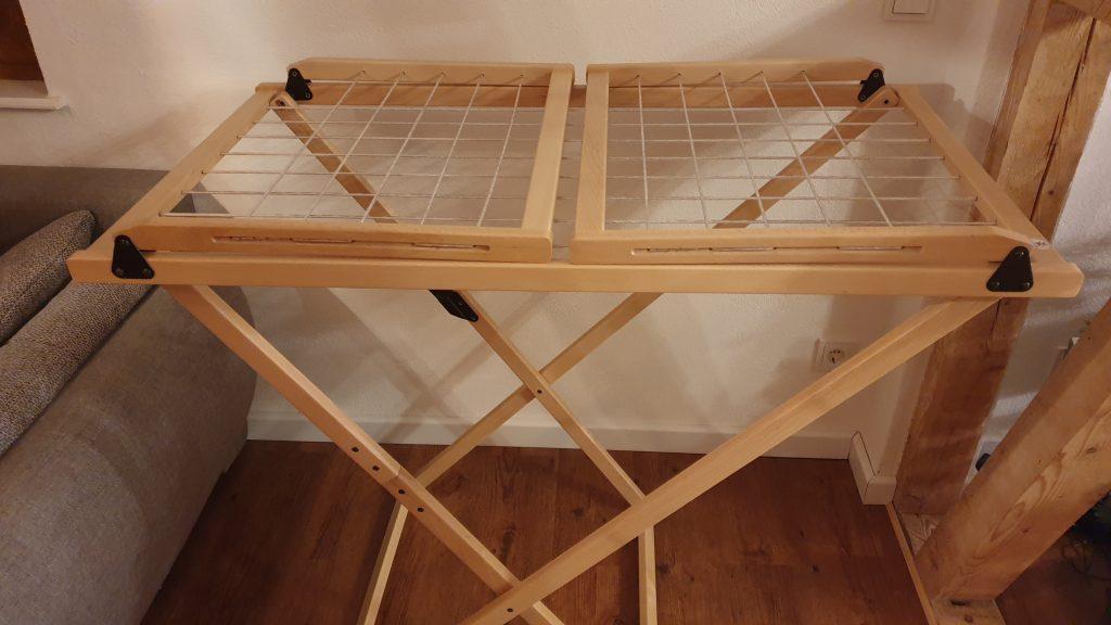 nachhaltig wohnen und leben als Familie Wäscheständer aus Holz